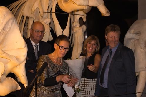 Luc en Leentje met schepen Albert Serpieters en federaal volksvertegenwoordiger Rita Gantois